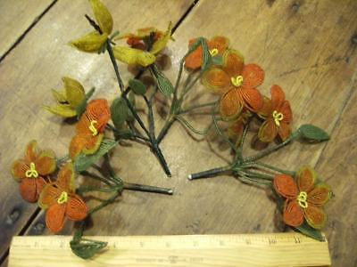 Vintage French Glass Beaded Flower Bouquet - Yellow Center - Green Leaves Orange