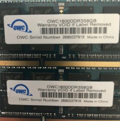 OWC 2 x 8GB (16GB total) 1600MHz DDR3S Memory Upgrade IMAC