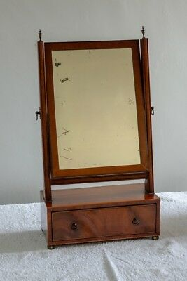 Mahogany box mirror with rosewood inlay, drawer and original silvered glass