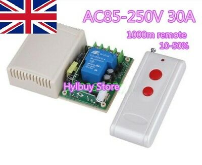 High Power 30A Far Distance Relay RF Wireless Remote Control Switch AC 110V 220V