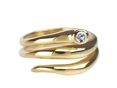 Schlange Snake 18 K 750 Gelb Gold 0,07 ct Brillant Solitär Damen Ring !