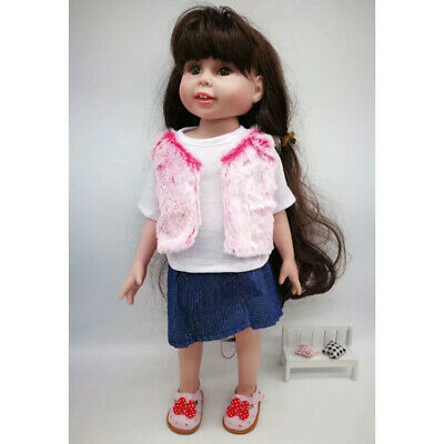 Fashion Girl Dolls Pink Plush Top & Denim Miniskirt For 18inch American Doll