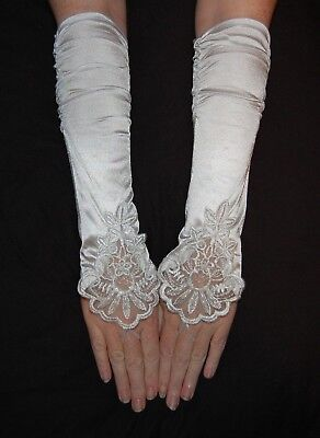 Big Girls Kids White fingerless Lace Satin formal gloves for dress costume Party