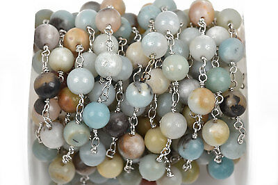 1 yard AMAZONITE GEMSTONE Rosary Chain, Silver, 8mm round beads fch0499a