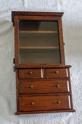 Child's glass fronted mahogany display cabinet with drawers