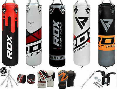 RDX 8pc Punching Bag Unfilled Heavy Boxing 4FT 5FT MMA Training Punch Gloves US