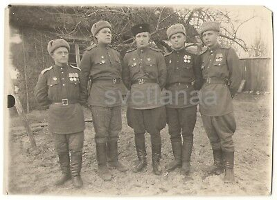 1940s WW2 military men SOVIET OFFICERS WWII Order medals USHANKA Russian Photo