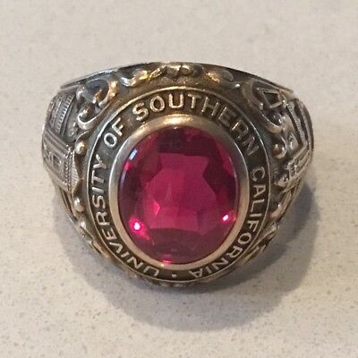 Vintage 1950 USC Class Ring, 10K Yellow Gold, Size 8-1/2, Excellent Condition