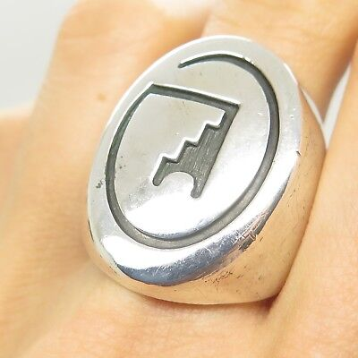 Southwestern Old Pawn Sterling Silver Carved Men's Tribal Signet Ring