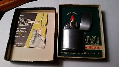 Vintage collectible NEW Ronson windproof  windlite lighter with box and...