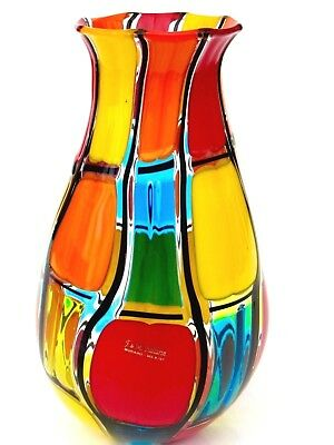 Signed By The Artist Very Large Murano Art Glass Pezzato Glass Vase by Ballarin