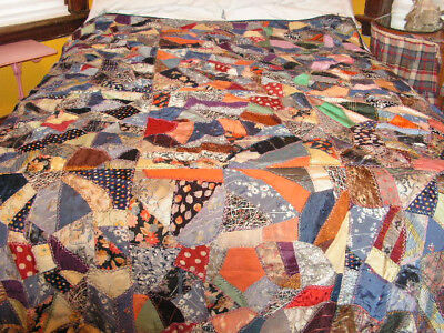 Old Crazy Quilt Silk Quilt Throw Quilt Handmade Mn Quilt Ties Hand Sewn Quilt