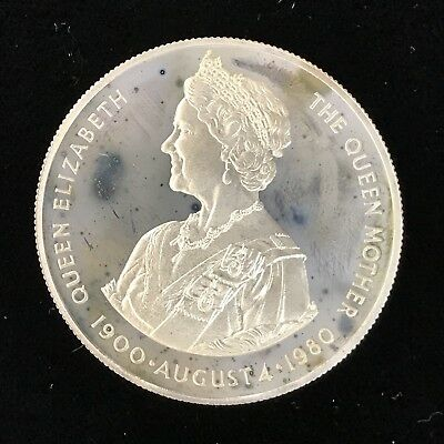 1980 50 PENCE - FALKLAND ISLANDS - QUEEN MOTHER'S 80th - PROOF - SILVER Lot#A509