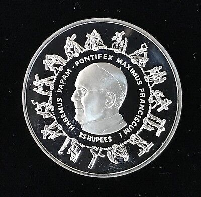 2013 25 RUPEES - SEYCHELLES - POPE FRANCIS - PROOF - SILVER - Lot#A529