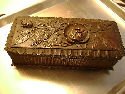 Carved wooden box with music box,Bovery governor..working,Pre 1900