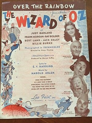 """1939 Wizard Of Oz """"Over the Rainbow"""" Sheet Music By Leo Feist"""