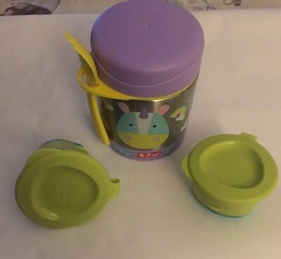 SKIP HOP Unicorn Thermos With 2 Small Tommy Tippee Baby Food Pots