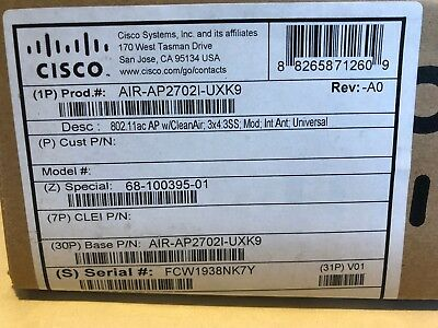 New Factory Sealed Cisco AIR-AP2702I-UXK9 Access Point Universal Domain