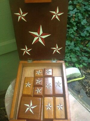 vintage folk art wooden hand carved & painted game of escape with box & pieces