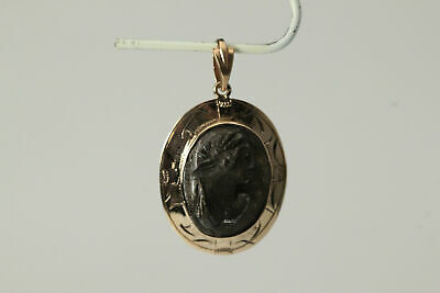 Vintage Black Stone Carved Cameo 10K Yellow Gold Pendant (PEN5285)