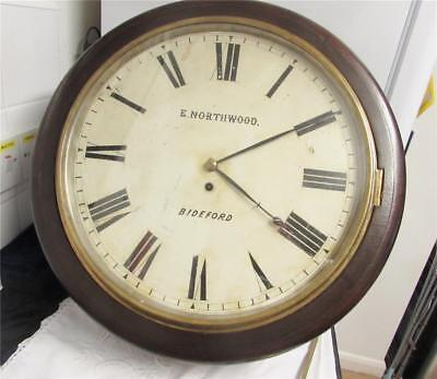 Antique Victorian Fusee Railway Clock Bideford Station 20 Inch Case E Northwood