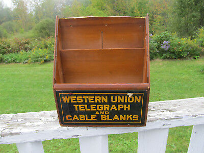 Antique Western Union Telegraph Office Wooden Display Paper Cable Blanks Holder