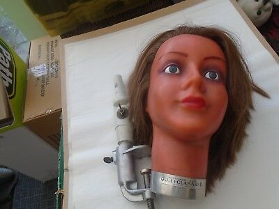 rare vintage French J Leclabart wax hairdressers mannequin head & display stand