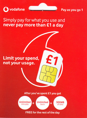 UK Vodafone Official Pay as you go 1 SIM Card with £20 credit