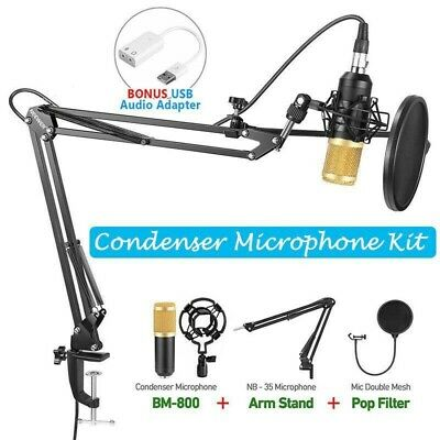 BM800 Studio Audio Vocal Condenser Microphone Kit Arm Stand Mount Pop Filter UK