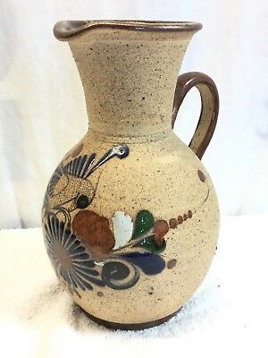 Vintage Mexican Hand Painted Tlaquepaque  Pottery Pitcher