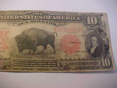 1901  $10 United States Note, Large Currency Buffalo Bison  Attractive Rare Note