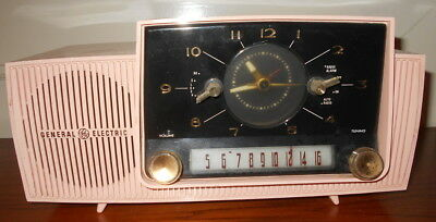 Vintage 1950's General Electric Pink Tube Table Clock Radio w. Alarm