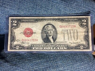 1928d $2 DOLLAR BILL OLD US NOTE LEGAL TENDER PAPER MONEY  RED SEAL  LOT E875