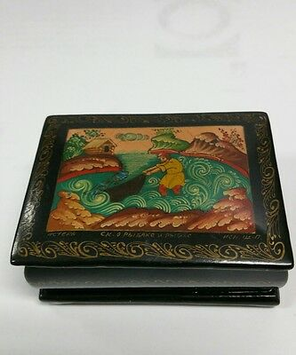 Antique Russian Black Lacquer Box Hand Painted With Signature