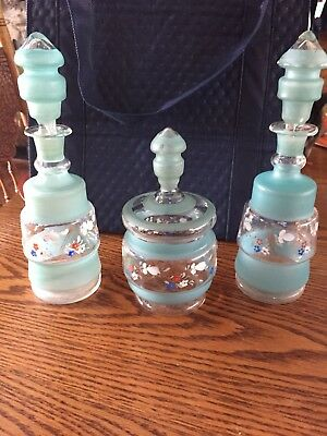 Antique/ 3 Piece Hand painted Enameled Flowers Perfume Bottles & Dresser jar Set