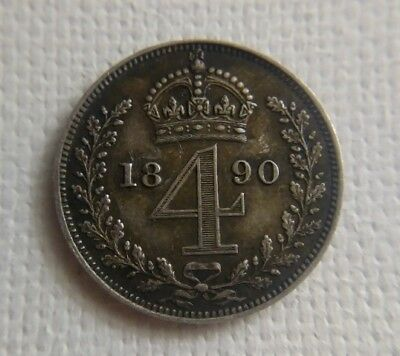 Rare 1890 4 Pence Ultra Low Mintage Prooflike Silver Coin