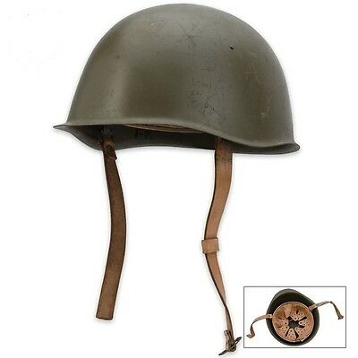 Military Surplus Helmet Czech Steel OD Green with Leather liner