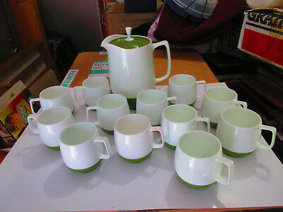 Vintage Thermos Insulated Ware Avocado Pitcher and 12 cups King Seeley USA .