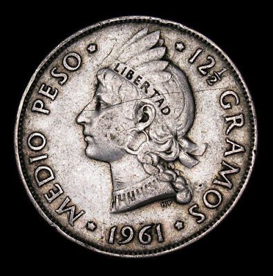 1961 Dominican Republic Medio Half 1/2 Peso silver coin