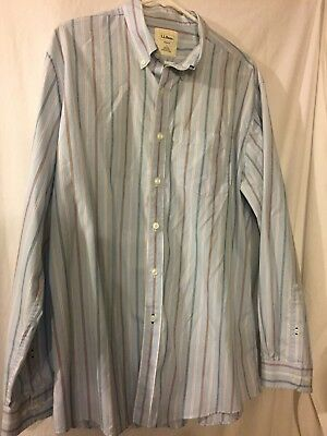 5e92b697d9 L.L. Bean Men's Long Sleeve Button Up Striped 100% Cotton SZ Lg Reg-Trim