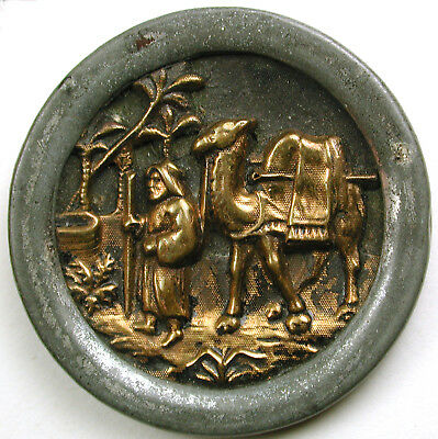 """BB Antique Button Elizer at the Well with Camel 1 & 3/8"""""""