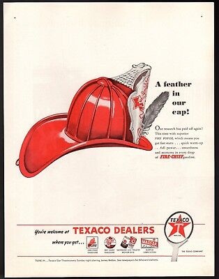 Original 1946 Vintage Print Ad Texaco Fire-Chief Gasoline Feather in our Cap