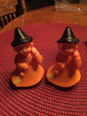 2 Vintage Gurley Witches holding Brooms Halloween wax figures