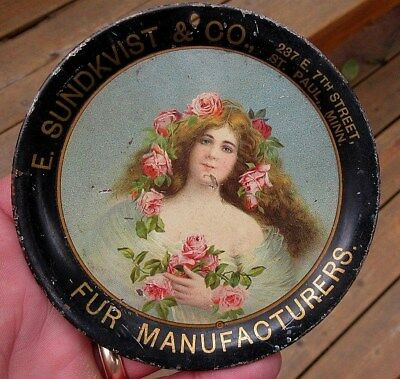 Vintage E. Sundquist Fur Company, St. Paul, Mn Tip Tray Antique Advertising Tray