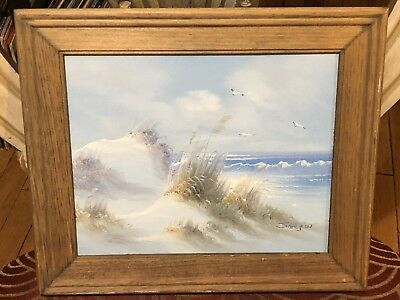 Original Oil Painting Seascape Beach Sand Dunes ~ Signed Jamison