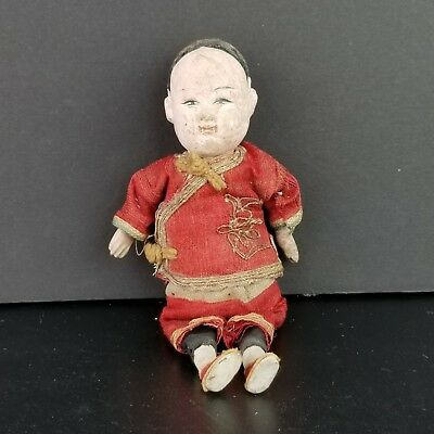 Asian Oriental Chinese Japanese Composition Doll Original Costume Antique Vtg