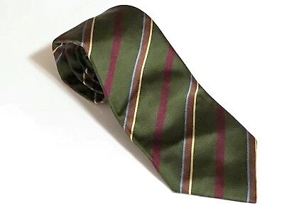 David Chu Green Twill Multicolor Rep Stripe SEVEN (7) FOLD Silk Tie Italy