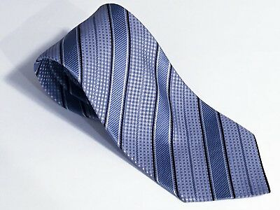 Corneliani Blue Silver Black Twill Rep Stripe Houndstooth Silk Tie Italy