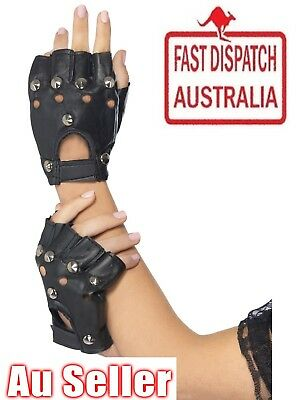 Studded Fingerless Black Gloves Punk Biker 80s Gothic Fancy Dress Faux Leather