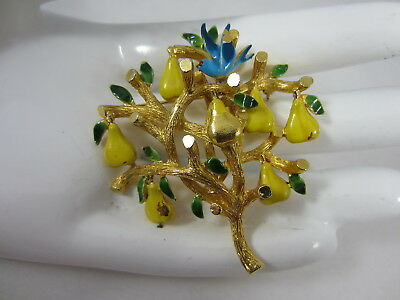 Vintage Signed Cadoro Enamel Partridge In A Pear Tree Christmas Pin Brooch